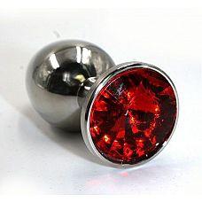 Серебристая алюминиевая анальная пробка с красным кристаллом - 8,4 см.  Анальная пробка из алюминия размер L.