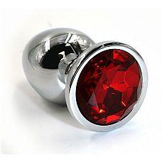 Серебристая алюминиевая анальная пробка с красным кристаллом - 6 см.  Анальная пробка из алюминия размер S.