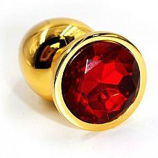 Золотистая алюминиевая анальная пробка с красным кристаллом - 6 см.  Золотая анальная пробка из алюминия размер S.