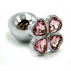 Серебристая анальная пробка с светло-розовым цветком из кристаллов - 6 см.  Анальная пробка из алюминия размер S.