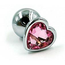 Серебристая анальная пробка с нежно-розовым кристаллом-сердцем - 7 см.  Анальная пробка из алюминия размер М.