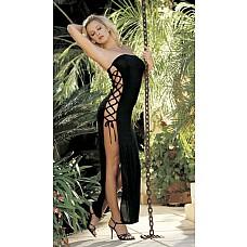 Длинное облегающее платье с разрезами  Длинное облегающее платье из эластичного трикотажа (чулочное плетение) с боковыми разрезами на шнуровке без бретелек.