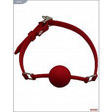 Красный силиконовый дышащий кляп-шар с фиксацией  Яркий цельнолитой кляп с усиками на силиконовых ремешках   высококачественное изделие с современной фурнитурой и аккуратными  креплениями.