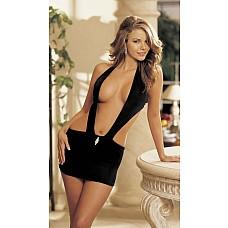 Сексуальная сорочка с большим вырезом  Волнующая открытая сорочка из эластичного трикотажа (чулочное плетение)  сзади на завязке и декоративной брошью на поясе.