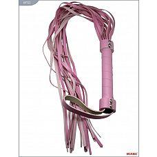 Розовый кожаный флогер с 21 хвостом - 56 см.  Флогеры Mjanu   высококачественные изделия с современной фурнитурой и аккуратными креплениями.
