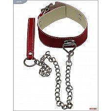 Красный ошейник с фиксацией и поводком-цепью  Ошейники Mjanu   высококачественные изделия с современной фурнитурой, аккуратными креплениями и отличной контрастной белой строчкой.