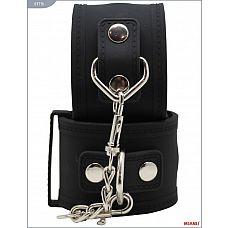 Чёрные силиконовые наручники с фиксацией  Наручники Mjanu   высококачественное изделие с современной фурнитурой и аккуратными креплениями.