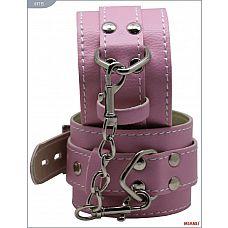Розовые кожаные наручники с фиксацией  Наручники Mjanu   высококачественное изделие с современной фурнитурой, аккуратными креплениями и отличной контрастной белой строчкой.