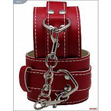 Красные кожаные наручники с фиксацией  Наручники Mjanu   высококачественное изделие с современной фурнитурой, аккуратными креплениями и отличной контрастной белой строчкой.