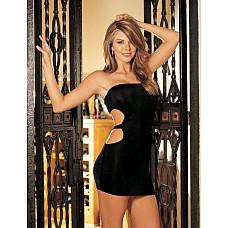 Короткое платье с боковыми вырезами  Короткое изящное платье  из эластичного трикотажа (чулочное плетение) без бретелек с декоративными боковыми вырезами.