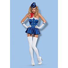 Костюм Stewardess от Obsessive   Представляем вам нереально сексуальный костюм Stewardess от Obsessive! В комплект входят корсет, перчатки, аксессуар на шею, головной убор и чулочки.
