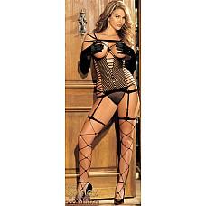 Открытый сексуальный комплект  Эластичный сексуальный сетевой комплект (чулочное плетение) с открытой грудью.