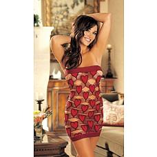 Очаровательная сорочка Сердечко  Сорочка из эластичного кружева с крупными сердечками (чулочное плетение).