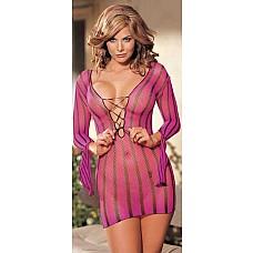 Сетевое платье в полоску  Платье из сетевого материала в яркую полоску с длинными рукавами.