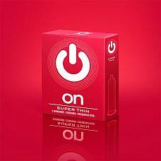 Супертонкие презервативы ON) Super Thin - 3 шт.  Ультратонкие презервативы классической формы, с лубрикантом и накопителем.