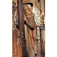 Открытое сетевое мини платье с  бахромой  Откровенное сетевое мини платье с разрезами в виде ромбов, на тонких бретельках, по низу отделка в виде кудрявой бахромы.