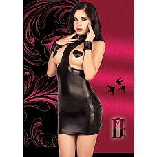 Платье с открытой грудью из материала под кожу  Черное БДСМ платье с открытой грудью.