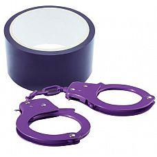 Набор для фиксации BONDX METAL CUFFS AND RIBBON: фиолетовые наручники из листового материала и липкая лента  Набор для фиксации BONDX METAL CUFFS AND RIBBON: фиолетовые наручники из листового материала и липкая лента из ПВХ.