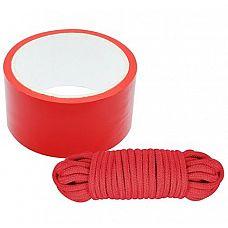 Набор для фиксации BONDX BONDAGE RIBBON   LOVE ROPE: красная лента и веревка  Набор для фиксации BONDX BONDAGE RIBBON   LOVE ROPE: красная лента из ПВХ и хлопковая веревка.