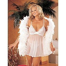 Сетевое платье беби-долл большого Размера с кружевным лифом  Платье беби-долл на бретелях из прозрачного сетевого материала.