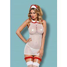 Костюм сексуальной медсестры от Obsessive   Всемирно известный польский бренд Obsessive давно уже радует своих покупательниц не только новыми изумительными коллекциями нижнего белья, но и прекрасными костюмами для ролевых игр!Костюм сексуальной медсестры позволит вам воплотить фантазии в реальность! Вкомплектвходятплатье, подвязки для чулок, чулки и головной убор.