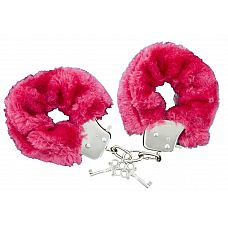 Красные меховые наручники с ключиками Furry Handcuffs 