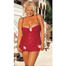 Платье беби-долл с кружевом-сердечками  Платье беби-долл с кружевными сердечками, кокетливыми оборками и бантиками.