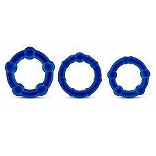 Набор из 3 синих эрекционных колец Stay Hard Beaded Cockrings  Набор из 3 синих эрекционных колец Stay Hard Beaded Cockrings.