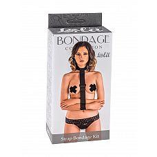 Ошейник с длинной лентой и наручниками Strap Bondage Kit Plus Size  Подчинить и обездвижить своего партнера Вам поможет фиксатор верхней части тела Strap Bondage Kit.
