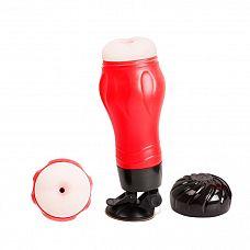 Мастурбатор-анус Crazy Bull FLORA с вибрацией и голосовым сопровождением  Мастурбатор выполнен в виде пластикового тубуса красно-черного цвета, внутри которого находится, реалистичный мастурбатор-анус.