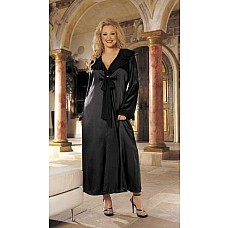 Роскошный халат из атласа и шифона (размеры 1Х, 2Х,3Х)  Длинный халат из тонкого атласа с длинными рукавами.