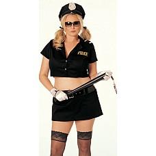 Любимый полицейский  Короткий топ на пуговицах с коротким рукавом с погончиками и нашивкой POLICE.