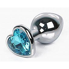 Серебристая анальная пробка с голубым кристаллом-сердцем размера L - 9,5 см.  Серебристая анальная пробка с голубым кристаллом-сердцем размера L.