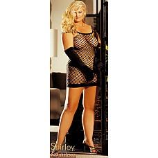 Сексуальное платье  Платье на тонких бретелях выполнено из эластичного сетевого материала (чулочное плетение).
