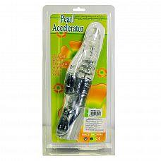 Прозрачный вибратор со стимуляцией клитора и ротацией - 27 см.  С этим вибромассажером так легко унестись в мир сексуальных грёз.