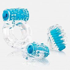 Голубой набор из 3 вибростимуляторов VIBROMAN  Голубой набор из 3 вибростимуляторов VIBROMAN: эрекционное кольцо, насадка на палец, насадка на язык.
