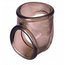 Дымчатое эрекционное кольцо с фиксацией мошонки  Кольцо для пениса позволит вам усилить ощущения и получить совместное удовольствие от секса.