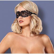 Чёрная ажурная маска на глаза на завязках  Чёрная ажурная маска на глаза на завязках.