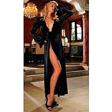 Роскошный халат из атласа и шифона  Длинный халат из тонкого атласа с длинными рукавами.