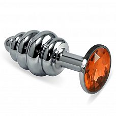 Серебристая ребристая пробка с оранжевым кристаллом размера M - 8,5 см.  Серебристая ребристая пробка с оранжевым кристаллом размера M.