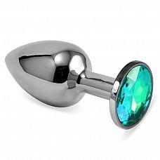 Серебристая анальная пробка с светло-зелёным кристаллом размера L - 9 см.  Серебристая анальная пробка с светло-зелёным кристаллом размера L.