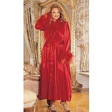 Атласный халат с отделкой из страусиных перьев  Роскошный длинный атласный халат с отделкой из страусиных перьев   по вороту и на рукавах.