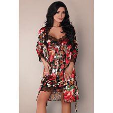 Комплект с цветочным рисунком Mariee: пеньюар, сорочка и трусики  Комплект из искусственного шелка: пеньюар, рукава и полы пеньюара украшает вышивка.