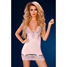 Нежно-розовая сорочка Stephanie с красивым декольте  Сорочка и трусики из стрейч-атласного материла, зона декольтеPPи низ изделия декорированы кружевом.