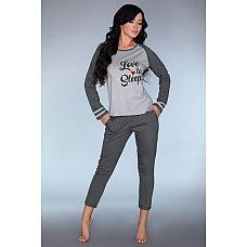 Мягкая пижамка с принтом Linza  Пижама, кофта и брюки прямого кроя, у брюк вверху резинка.