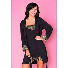 Комплект Loreli с золотистой вышивкой: пеньюар и сорочка  Комплект Loreli с золотистой вышивкой: пеньюар и сорочка.