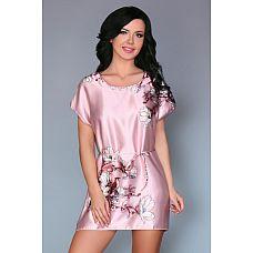 Нежно-розовая сорочка Amalia с цветочным рисунком  Сорочка из искусственного шелка, свободного кроя с цветочным рисунком.