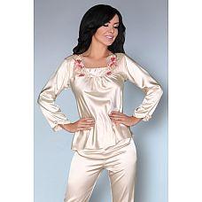 Роскошная пижама Nima с цветочной вышивкой у горловины  Роскошная пижама Nima с цветочной вышивкой у горловины.
