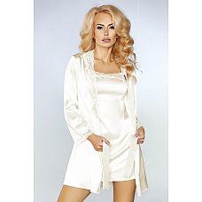 Чарующий ночной комплект Jacqueline: пеньюар, сорочка и трусики-стринги  Элегантный комплект из искусственного шёлка, сорочка на тонких бретелях, пеньюар и трусики.