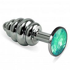 Серебристая ребристая пробка с светло-зеленым кристаллом размера L - 9,5 см.  Серебристая ребристая пробка с светло-зеленым кристаллом размера L.